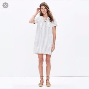 Madewell Harbor Lace Up Striped Shift Dress